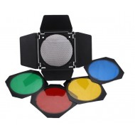 Godox BD-04 Barndoor Kit with 4 Color Gels and Honeycomb for Strobe