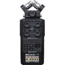 Zoom H6 6-Track/6-Input Portable Handy Recorder with Single Mic Capsule (All Black)