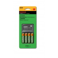 Kodak AA pre-charged Rechargeable Ni-Mh Batteries (4 Pack) with Cells Charger