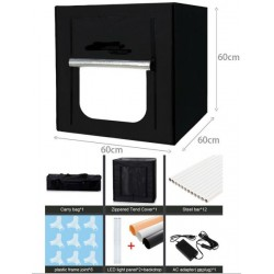 60*60*60CM LED Photography Studio Lightbox Light Tent with 3 backgrounds