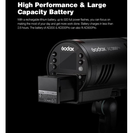 Godox AD300 Pro TTL Battery-Powered Wireless Pocket Flash Strobe