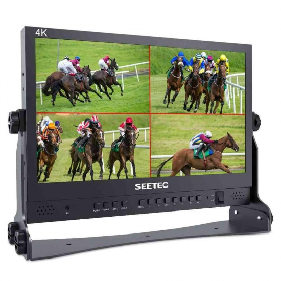 FEELWORLD ATEM156 15.6 Inch Live Streaming Broadcast Director Monitor for ATEM Mini Video Switcher Mixer Pro Studio Television Production with 4 HDMI Input Output Quad Split Display Atem