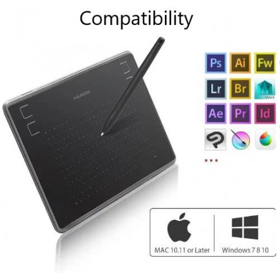Huion Inspiroy H430p Graphics Pen Tablet compatible with Mac, PC or Android Mobile (Black)