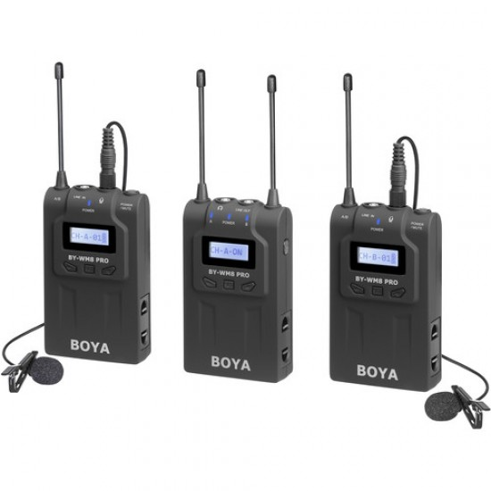 BOYA BY-WM8 Pro-K2 UHF Dual-Channel Mono/Stereo Wireless Lavalier System