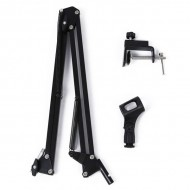 Adjustable Studio Microphone Suspension Scissor Arm Stand (Black)