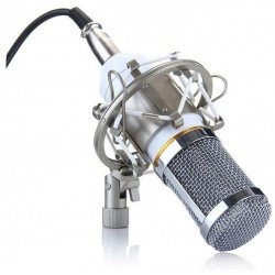 BM-800 Condenser Recording Microphone with Shock Mount - White