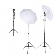 E27 Lighting With Stand and Umbrella (3 Set Kit)