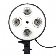 E27 4 in 1 Light Socket with Light Stand Swivel Mount & Umbrella Holder for Photography Lighting