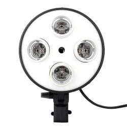 E27 4 in 1 Light Socket with Light Stand Swivel Mount & Umbrella Holder for Photography Lighting