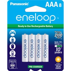 Panasonic eneloop AAA Ni-MH Pre-Charged Rechargeable Ni-MH Batteries (800mAh, Pack of 8)