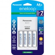 Panasonic Eneloop Rechargeable AA Ni-MH Pre-Charged Batteries with Charger (2000mAh, Pack of 4)