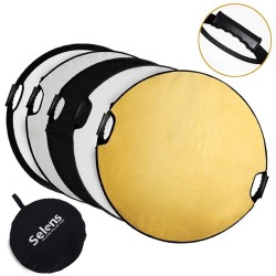 "Selens 110cm 43"" 5 in 1 Portable Collapsible Multi Disc Reflector (Gold/Silver/Black/White/Translucent)"